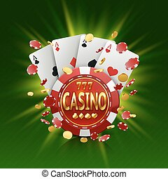 Casino banner in a frame on background. - Casino banner in a...