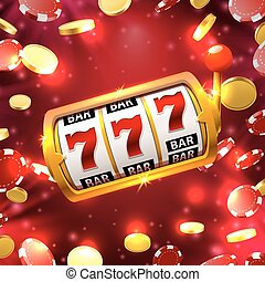 Big win slots 777 banner casino on the red background....