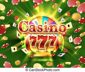 Casino 777 big win slots and fortune banner. Vector...