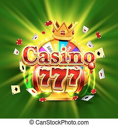 Casino 777 big win slots and fortune king banner. Vector...