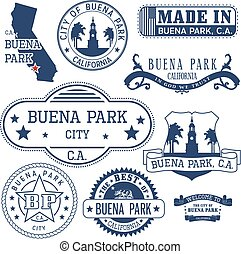 generic stamps and signs of Buena Park, CA - Set of generic...