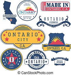 generic stamps and signs of Ontario, CA - Set of generic...