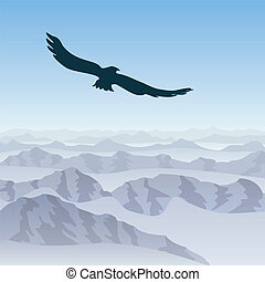 lone eagle soars over the mountain landscape