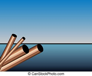 Copper Steel Pipes - This illustration features a set of...