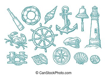 Anchor, wheel, bollard, hat, compass rose, shell, crab,...