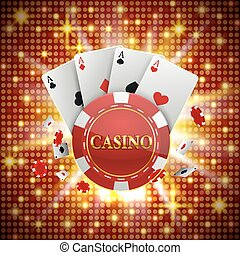 Chips and cards Casino banner. Vector illustration - Chips...