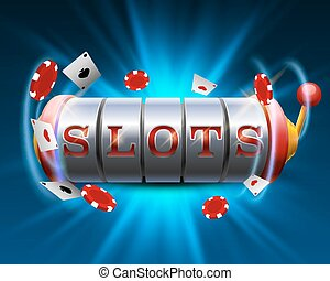 Casino slots jackpot 777 signboard. Vector illustration