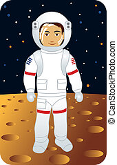 Astronaut - Vector illustration of an astronaut walking on...