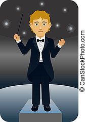 Conductor - Vector illustration of a music conductor wearing...