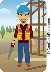 Construction Worker - Vector illustration of a construction...