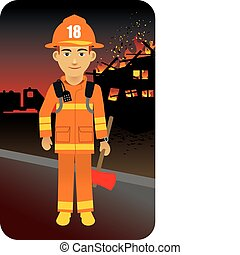 Fireman, Firefighter - Vector illustration of a fireman to...