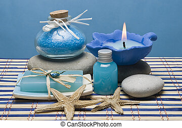 Blue spa 8. - Spa background with hygiene items in blue.