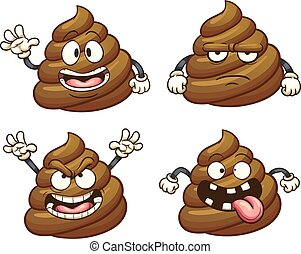 Cartoon poop character with different emotions. Vector clip...