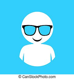 cool face in relax moment - Creative design of cool face in...