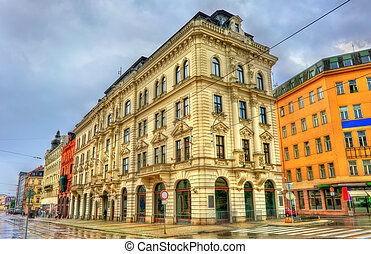 Buildings in the old town of Brno, Czech Republic -...