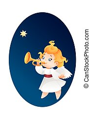 Kid angel musician flying on a night sky, making fanfare...