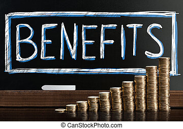 Social Security Benefits Drawn On Chalkboard