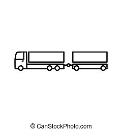 truck with trailer icon on white background - thin line...