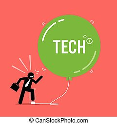 Tech Bubble in Stock Market. - Vector artwork depicts a...