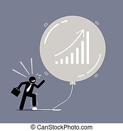 Stock Market Bubble. - Vector artwork depicts a happy...