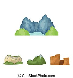 Green mountains with snow tops, a canyon, rocks with...