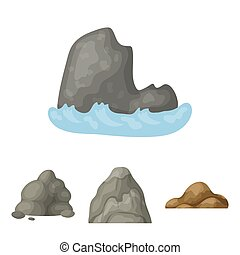 Boulders, a rounded mountain, rocks in the sea. Different...
