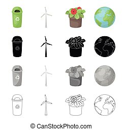 Garbage can, ecological wind generator, flower in the pot,...