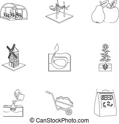 Farm, garden, nature and other web icon in outline...