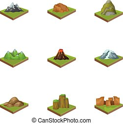 Mountains, rocks, lighthouse, volcano and other land...