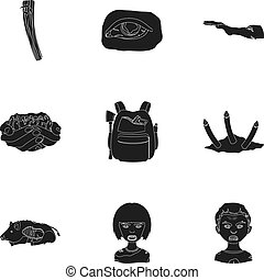 Zombie, dead, skull, and other web icon in black style....