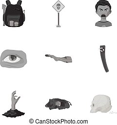 Zombie, dead, skull, and other web icon in monochrome style....