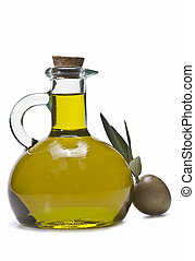 A bottle of olive oil and one olive isolated on a white...
