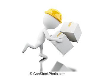 3d White people falling with boxes - 3d illustration. White...