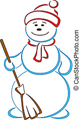 Snowball in a cap with a broom with smiling face, openwork...