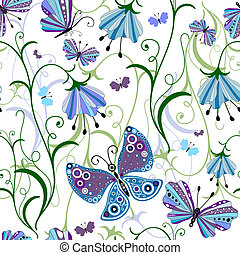 White seamless floral pattern with blue-violet flowers and...