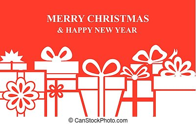 Christmas box gifts background on red background - Vector...