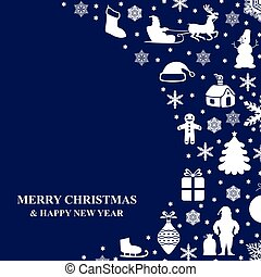 Christmas congratulatory card on blue background - Vector...