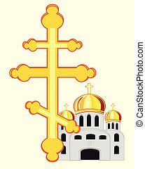 Symbols to christian religion cross and church