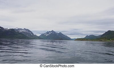 Mountain landscapes on the Norwegian Sea at summer