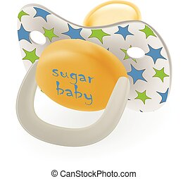 Orthodontic Baby s Dummy. Child Pacifier Or Stars Isolated On A White Background. Vector Illustration.