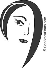 Women hair style icon, woman face silhouette