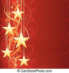 Christmas background with shiny golden stars, snow flakes...