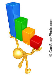Gold Guy Raising The Bar Graph - A Concept And Presentation...