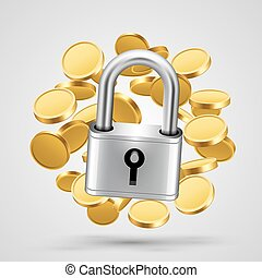 Padlock with gold coins object icon.