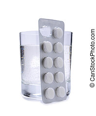 Pills and glass three - Medical pills and glass whit water...