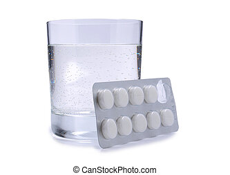 Pills and glass two - Medical pills and glass whit water on...