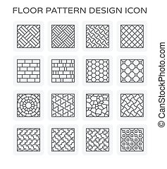 floor pattern icon - Vector line icon of floor pattern...