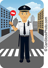 Police Officer - Vector cartoon illustration of a police...