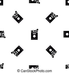 Grocery bag with food pattern seamless black - Grocery bag...
