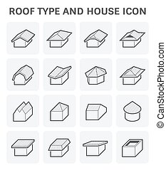 roof type icon - Roof type and house vector icon set design.